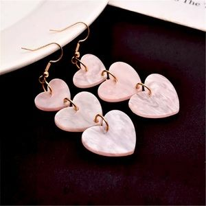 Acrylic Pink Heart 💖 Long Earrings